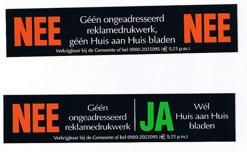een nee-nee sticker bestellen